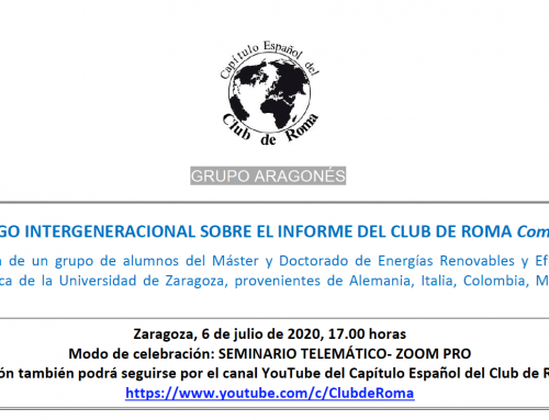 Diálogo intergeneracional sobre el informe del Club de Roma Come On!